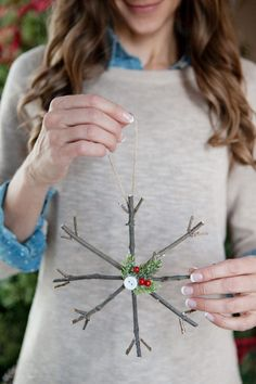DIY Christmas Decorations - Rustic Twig Christmas Ornaments - Easy Handmade Christmas Decor Ideas - Cheap Xmas Projects to Make for Holiday Decorating - Home, Porch, Mantle, Tree, Lights christmas decorations 34 DIY Christmas Decorations To Make This Year Diy Christmas Lights, Homemade Christmas Decorations, Christmas Centerpieces, Rustic Christmas, Simple Christmas, Handmade Christmas, Christmas Diy, Christmas Ornaments, Christmas Budget