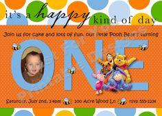Winnie the Pooh  1st or 2nd Birthday  Custom by 4UPrintableDesigns, $12.00
