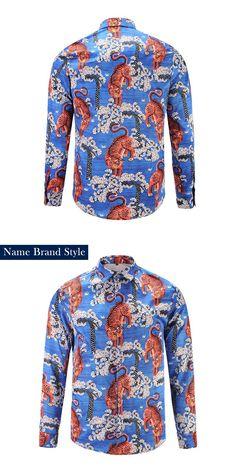 Name Brand Printed Men Dress Shirt  Printed 3D Shirt Slim Fit Male Long Sleeve Shirts chemise homme Plus Size9171