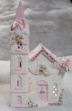 Shabby Chic Christmas Village Church