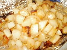 Cooking potatoes on the grill...cowboy potatoes w/onions..cooked in foil