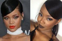 Rihanna Inspired Sleek Swoop Ponytail - http://community.blackhairinformation.com/video-gallery/relaxed-hair-videos/rihanna-inspired-sleek-swoop-ponytail/