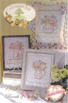 Breath Of Spring Pattern: This pattern makes three little hand embroidery pitchers filled to the brim with Spring flowers. You can use these to finish frames, pillows, or even corners on a tablecloth! Pattern finishes to 7 1/2