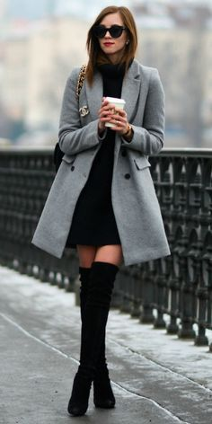 Style Tips On What To Wear With Your Grey Coat Grey Coat Outfits A grey coat knee-high boots ultimate feminine outfit Barbora Ondrackova great for work or an evening out Coat Zara Dress H 038 M Boots Stuart Weitzman Bag Chanel Sunglasses Celine Mode Outfits, Casual Outfits, Fashion Outfits, Womens Fashion, Fashion Ideas, Fashion Inspiration, Fashion Tips, Ladies Fashion, Outfits 2016