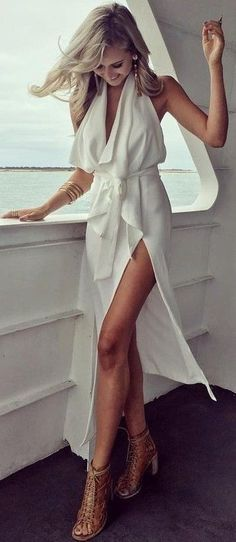 #summer #australian #fashionista #outfits | White Night Out Summer Dress                                                                             Source