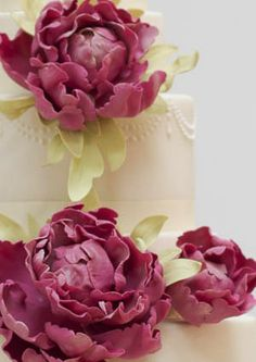 rosalind miller cakes pink peonies wedding cake closeup