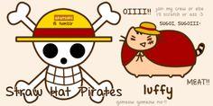 """♔ Chapeau Paille ♔ Pusheen Chat Pirate ~ Capitaine : Luffy Monkey D. """"surnommé Chapeau Paille"""" ł Navire : ⛵ Sunny Thousand ⛵ ~ ⚓_Øne_Piece_⚓ ~ [✨GiF✨]"""