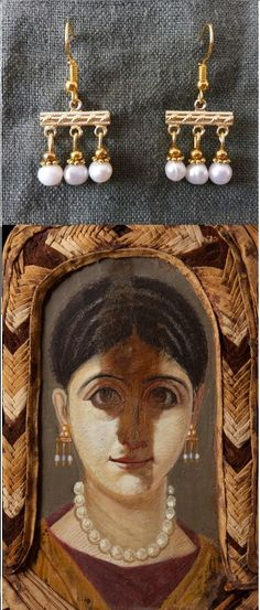 Replica of Roman 'crotalia' type earrings (pearls and gold) found in Fayum portraits. Handmade by me (Anique Hamelink)
