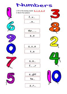 The numbers interactive and downloadable worksheet. Check your answers online or send them to your teacher. English For Beginners, English Lessons For Kids, Hindi Worksheets, Number Worksheets, English Activities, Activities For Kids, Number Spelling, Sign Language Alphabet, Numbers For Kids