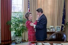 President Reagan & First Lady Nancy Reagan sharing a quiet moment in the Oval Office.