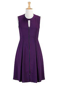 I <3 this Keyhole zip front crepe dress from eShakti