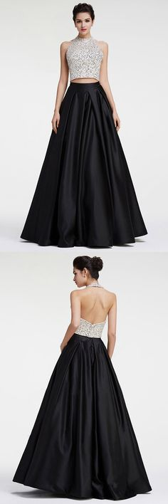 Long Prom Dresses Two Piece, Princess Formal Dresses Halter, Black Party Dresses Satin with Sequins, Backless Evening Dresses Modest
