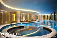 This image highlights the vibrant blue waters of the gorgeous indoor pool at #Hilton Hangzhou Qiandao Lake Resort in Zhejiang, China. View more stunning photography here: http://www.vrxstudios.com