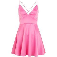 AX Paris Pink V Neck Skater Dress (63 BRL) ❤ liked on Polyvore featuring dresses, pink, ax paris dresses, v neckline dress, pink day dress, skater dress and pink skater dress
