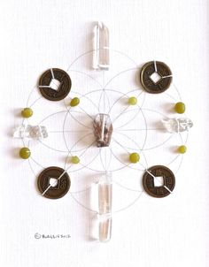 LUCK ABUNDANCE PROSPERITY framed sacred crystal grid seed of life --- jade --- raw quartz
