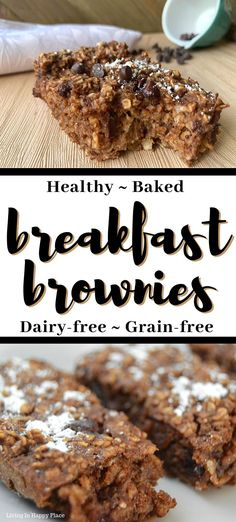Healthy Breakfast Brownies will knock your socks off! If you are looking for healthy breakfast recipe ideas, you must try these grain-free, flourless, dairy-free, chocolate baked oatmeal bars. Easy and not too sweet healthy breakfast brownies for kids. Healthy Oatmeal Breakfast, Breakfast On The Go, Breakfast Bake, Healthy Breakfast Recipes, Healthy Baking, Breakfast Ideas, Healthy Kids, Healthy Desserts, Brunch Recipes