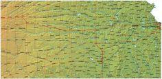 Detailed Kansas Map - KS Terrain Map