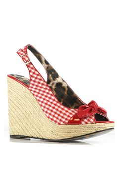RED & WHITE Gingham Print Flora Wedges  #4thofJuly #uniquevintage