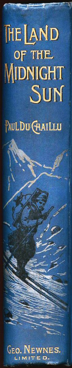 Book spine of an early copy of The Land of the Midnight Sun, originally published in 1881.