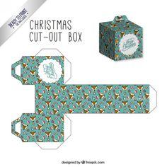 These fun & ready-to-print templates make for beautiful Christmas boxes! Blue Christmas, Christmas Tree Box, Christmas Gifts For Kids, Christmas Crafts, Merry Christmas, Christmas Templates, Christmas Printables, Diy Xmas, Le Gui