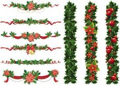107 best christmas garland images on pinterest christmas set of vector christmas garland templates with red ribbons and bows decorated with christmas holly and holly plant leaves can be used as decorative floral maxwellsz