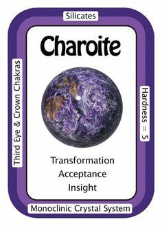 """Crystal Card of the Day: Charoite """"I see clearly, so that I may become my true self."""" Charoite is a stone of acceptance and insight. It provides healing on all levels. Physically, Charoite removes/transmutes negativity and overcomes obsessive/compulsive behaviors. Emotionally, Charoite helps to face and release fear. Spiritually, this """"Stone of Transformation"""" enhances past life visions, supports your life path, and grounds the Spiritual self into every day reality."""