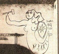 1948   Syrenka autorstwa Picassa na bloku przy Sitnika 4.   Warszawa Została zamalowana.