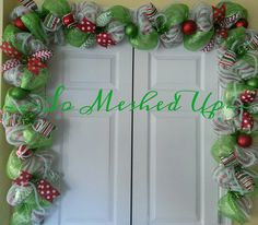 10' Christmas deco mesh garland with lots of whimsy in green apple, red and white! Christmas pre-order - pinned by pin4etsy.com