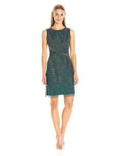 Adrianna Papell Women's Sleeveless Cocktail Dress with Geometric Beading * You can find out more details at the link of the image. (This is an affiliate link) #CocktailDress