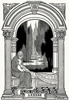 Lenore. William Heath Robinson, from The poems of Edgar Allan Poe, London, New York, 1900. (Source: archive.org)