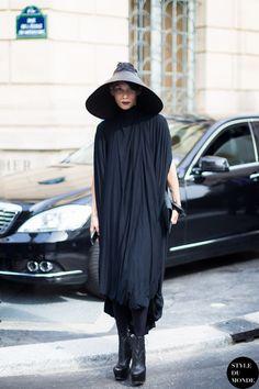 Paris FW SS14 Street Style: Lily Gatins - STYLE DU MONDE |  6 Jan '14 Lily Gatins, freelance stylist, wearing Barbara Bologna hat, Cunnington & Sanderson dress & Cinzia Araia shoes.