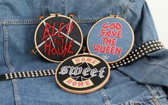Motorhead and Iron Maiden meets embroidery in this homage to heavy metal designs