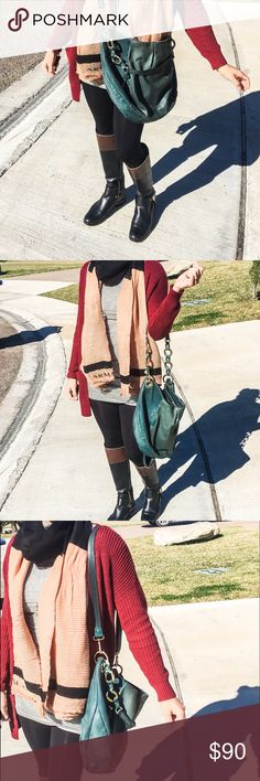 Vince Camuto Hobo Satchel Crossbody Bag Beautiful Vince Camuto Cristina Hobo style bag that can be used in three different ways as shown on the pictures. Green Emerald Color. It has some wear but hardly noticeable. Vince Camuto Bags Crossbody Bags