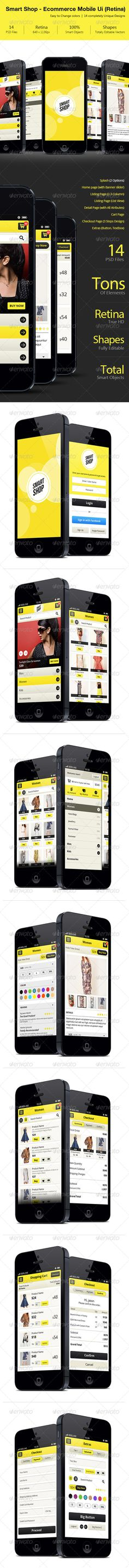Smart Shop E-commerce Retina Mobile Ui   #GraphicRiver         a very unique User Interface only focused for E-commerce paltform for mobile devices. Smart shop is the most common and at the same time most unique design for E-Commerce mobile website or application. you can use this design for mobile version of magento, oscommerce or anyother E commerce platform.  Main Features of this design   14 PSD Files  True Retina   According to latest mobile version  Fully editable layers  Totally…