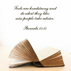 The way of a fool is right in his own eyes, but a wise man listens to advice. http://bible.com/59/pro.12.15.ESV
