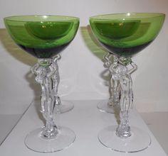 Cambridge Glass Nude Stem Green Cocktail Glasses Statuesque Set Of 4 Vintage #CambridgeGlassLtd