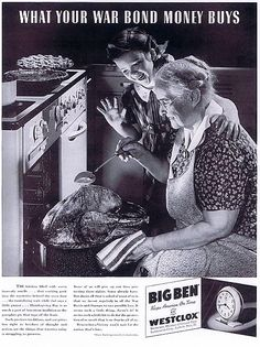 Thanksgiving themed WW2 Westclox ad from 1942.