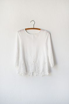 vintage inspired white lace top with buttons | Lost in Avonlea Top