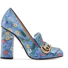 Gucci New Flora Leather Pump (€735) ❤ liked on Polyvore featuring shoes, pumps, heels, blue, women, blue leather shoes, high heel court shoes, high heel shoes, blue pumps and fringe pumps