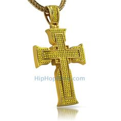 Lemonade Canary on Gold Bling Bling Cross Pendant.  Choose your hip hop chain and get iced out with hip hop jewelry.