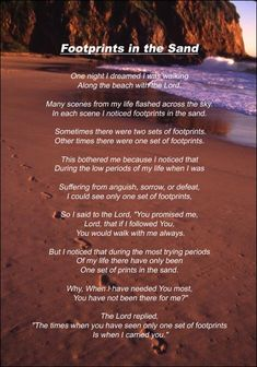Footprints in the sand poem quotes mom Ideas Footprints In The Sand Poem, Sand Footprint, Sister Poems, Sister Quotes, Gods Love, My Love, Poem Quotes, Qoutes, Jesus Quotes