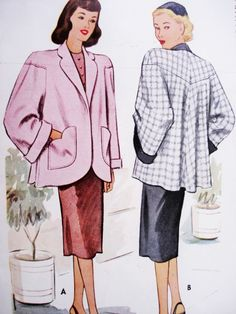 1940s FAB High Fashion Jacket Swing Back Car Coat Pattern McCALL 6802 Wide Cuffed Sleeves Shaped Pockets Beautiful Design Bust 30 Vintage Sewing Pattern