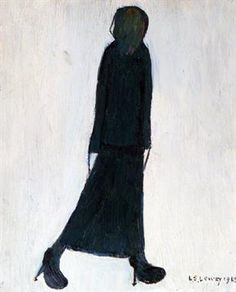 "LAURENCE STEPHEN LOWRY (1887-1976), OIL ON CANVAS, 'Woman Walking', signed and dated 1968, titled to 'The Lefevre Gallery', London and 'Grove Fine Art', Manchester, labels verso, 10 1/2"" x 8 1/2"" (26.7cm x 21.6cm)"