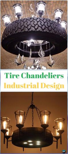 DIY Industrial Tire Chandelier - DIY Old Tire Furniture Ideas