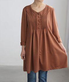 Cotton accordion pleats dress/ cotton Long t shirt/ by MaLieb, $70.00