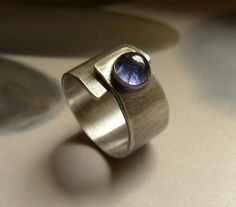 Silver ring with iolite adjustable Sterling silver wide by Mirma, $75.00