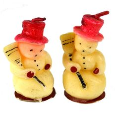 Vintage Novelty Snowman Christmas Candles lot of two. These adorable snowmen have red hats, are holding a broom and have black buttons, eyes, and nose. No makers mark. They measure about inches tall. Condition for both is good with some soiling. Christmas Figurines, Vintage Christmas Ornaments, Retro Christmas, Vintage Holiday, Vintage Santas, White Christmas, Christmas Snacks, Christmas Past, Christmas Snowman