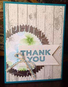 Thank you card made with Stampin' Up! #diy #crafty #card #hardwood #spring #catalog #stampinup #thankyou @Coral Wheeler Wheeler Wheeler Wheeler Hinz' Up!
