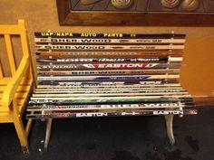Cool hockey stick bench.