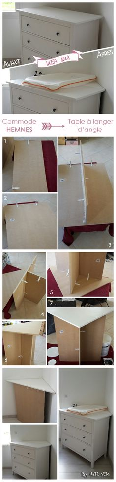 Une idée simple pour faire une table à langer d'angle aussi pratique que jolie : transformez une commode en table à langer (IKEA hack) Baby Room Diy, Baby Room Decor, Baby Boy Rooms, Baby Bedroom, Ikea Hack, Baby Corner, Montessori Bedroom, Baby Changing Tables, Baby Coming